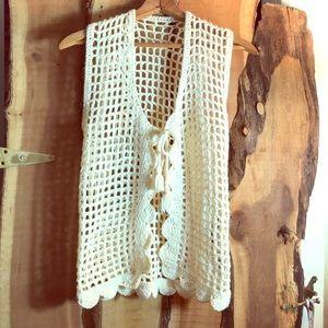 VINTAGE OOAK Hand Crochet Cream Boho Vest M EUC